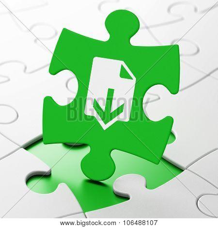 Web design concept: Download on puzzle background