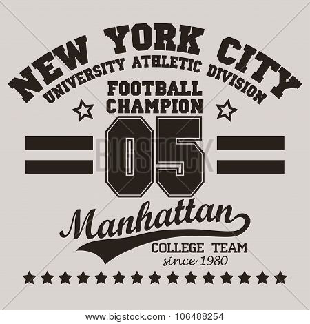 New York City Typography football t-shirt
