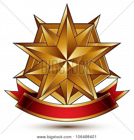 Vector Complicated Glossy Design Element, Luxury 3D Polygonal Golden Star Placed On A Decorative Bla
