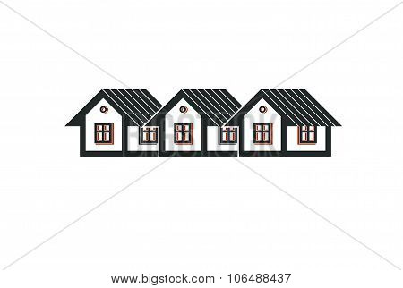 Simple Cottages Illustration, Country Houses, For Use In Graphic Design. Real Estate Concept, Region