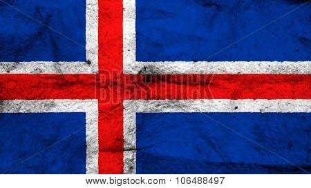 Flag of Iceland, Icelandic flag painted on wool texture