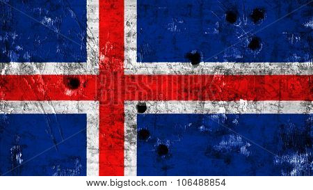 Flag of Iceland, Icelandic flag painted on metal texture with bullet holes