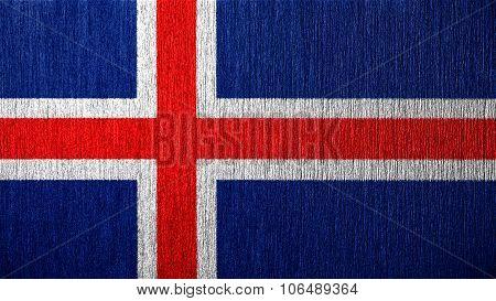 Flag of Iceland, Icelandic flag painted on metal texture