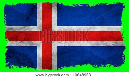 Flag of Iceland, Icelandic flag painted on paper texture