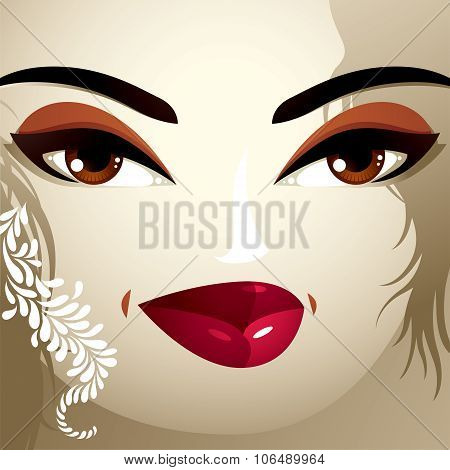 Emotional Expression On The Face Of A Cute Girl. Beautiful Tricky Woman With A Modern Makeup And Sty