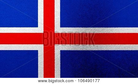 Flag of Iceland, Icelandic flag painted on glass.