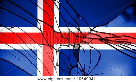 Flag of Iceland, Icelandic flag painted on broken glass.