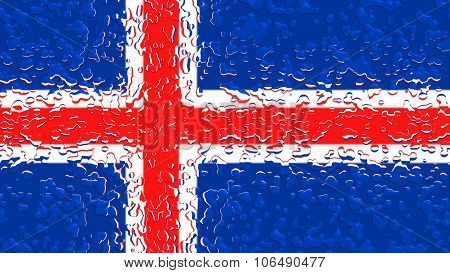 Flag of Iceland, Icelandic flag with water drops