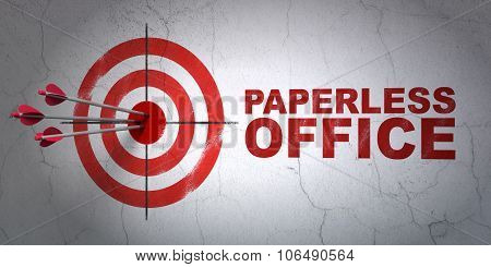 Business concept: target and Paperless Office on wall background