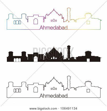 Ahmedabad Skyline Linear Style With Rainbow