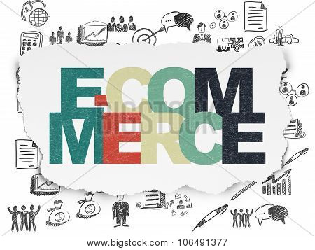 Finance concept: E-commerce on Torn Paper background