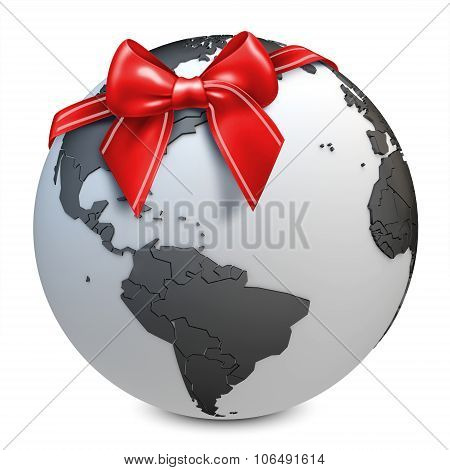 3D Earth Globe Black With Red Bow