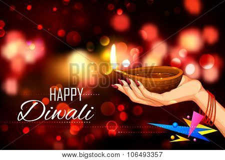 illustration of lady holding burning diya on Diwali Holiday background
