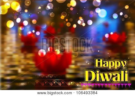 illustration of golden lotus shaped diya floating on river in Diwali background