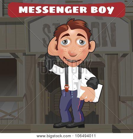 Cartoon character in Wild West - messenger boy