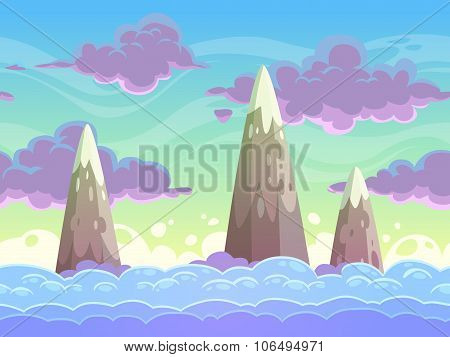 Seamless cartoon horizontal cloudscape