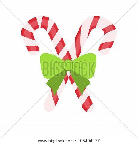 Traditional celebratory Christmas lollipops with green bow