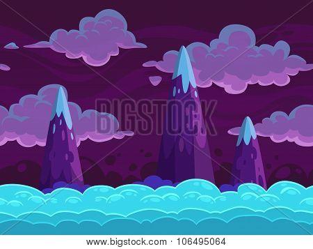Seamless cartoon horizontal cloudscape