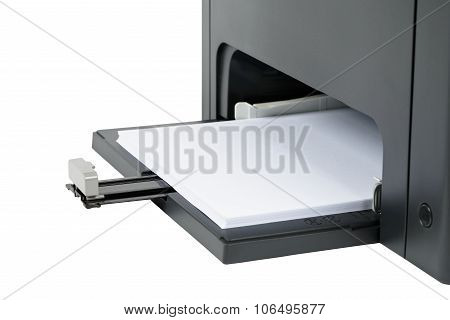 Paper Tray At The Base Of The Laser Printer