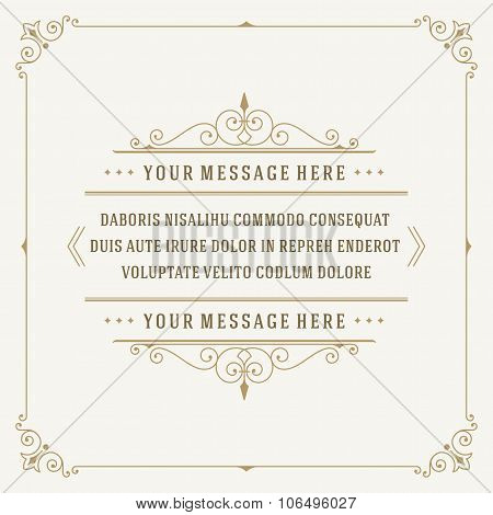 Vintage Ornament Quote Marks Box Frame Vector template