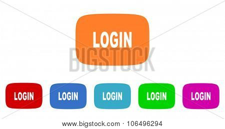 login flat design modern vector circle icons colorful set for web and mobile app isolated on white background