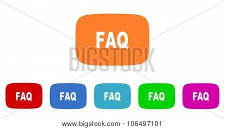 faq flat design modern vector circle icons colorful set for web and mobile app isolated on white background