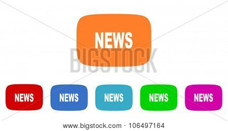 news flat design modern vector circle icons colorful set for web and mobile app isolated on white background