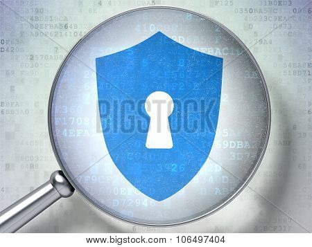 Protection concept: Shield With Keyhole with optical glass on digital background