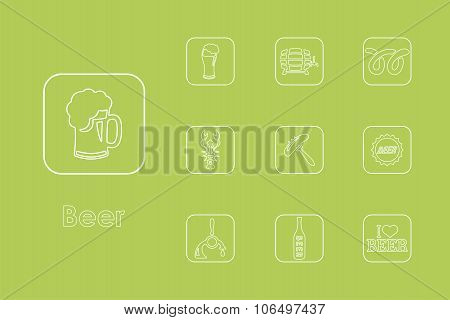 Set of beer simple icons