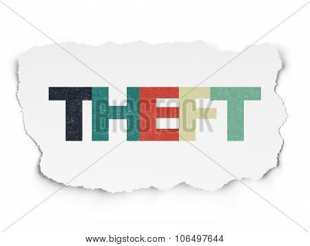 Security concept: Theft on Torn Paper background