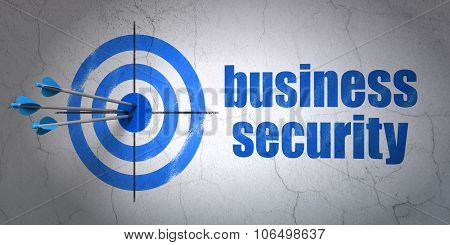 Privacy concept: target and Business Security on wall background