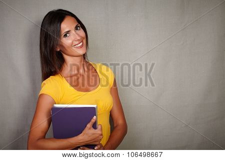 Charismatic Young Woman Holding Mobile Technology