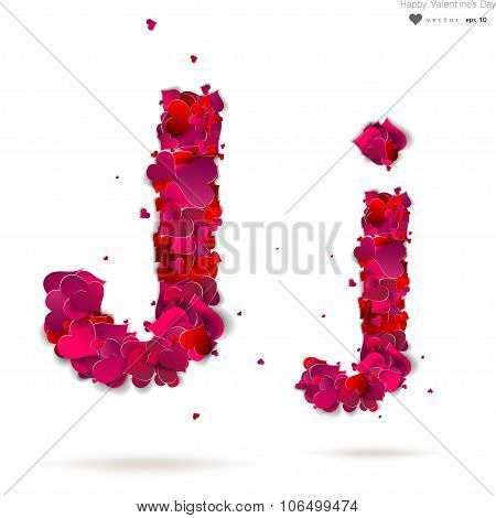 Letter J made from hearts. Love alphabet