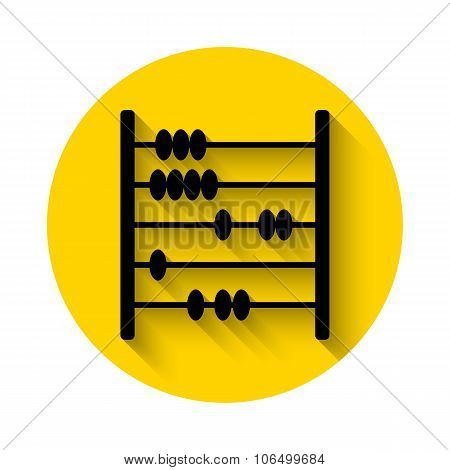 Abacus Flat Icon With Long Shadow