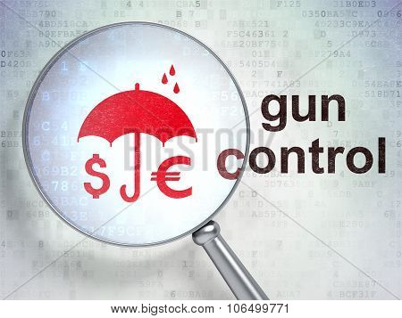Protection concept: Money And Umbrella and Gun Control with optical glass