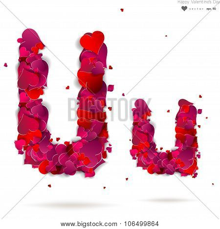 Letter U made from hearts. Love alphabet