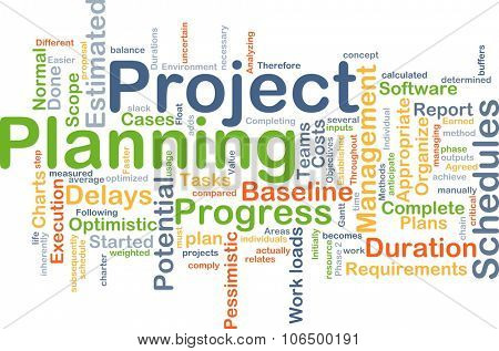 Background concept wordcloud illustration of project planning