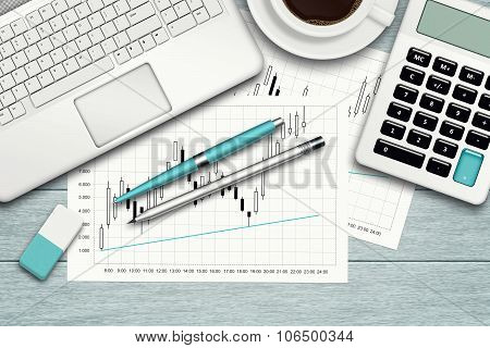 Workspace With Graph, Computer, Graph, Calculator And Stationery