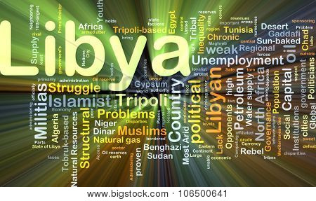 Background concept wordcloud illustration of Libya glowing light