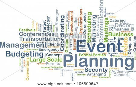Background concept wordcloud illustration of event planning