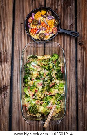 Baked broccoli with tomato salad