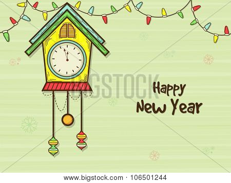 Colorful creative clock showing almost Twelve O' Clock on snowflakes decorated background for Happy New Year celebration.