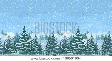 Seamless Winter Forest Landscape