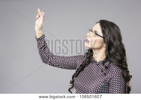 Businesswoman Smile Point Finger To Empty Copy Space, Business Woman Showing Pointing Side, Concept