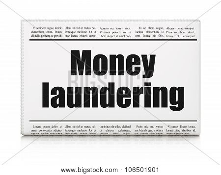 Currency concept: newspaper headline Money Laundering