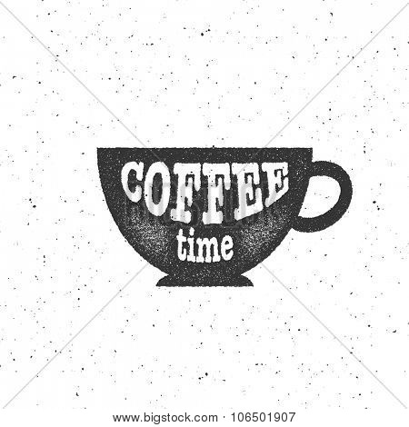 Vector illustration of cup of coffee. Vintage typography poster, home decoration design.