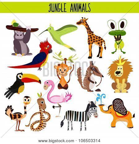 Cartoon Set of Cute Animals monkey, lion, Zebra, elephant, snake and bird Toucan, Flamingo, humming