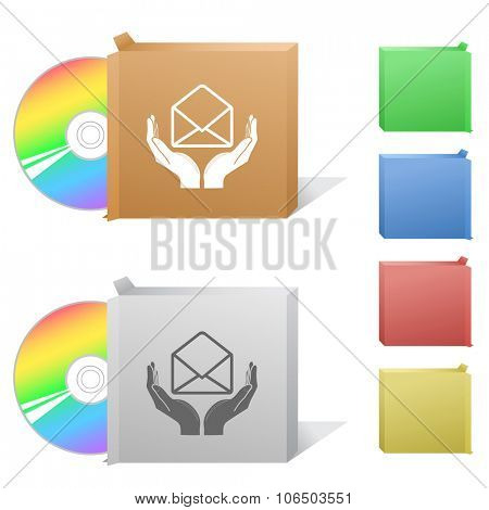 protection of mail. Box with compact disc.  Raster illustration.