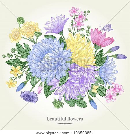 Card With A Flower Bouquet