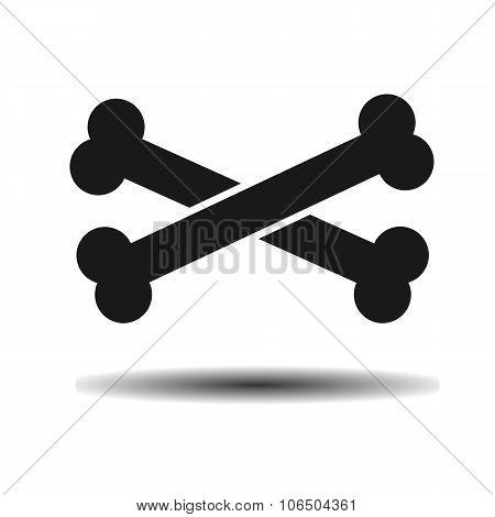 Black Crossbones Vector Flat Icon